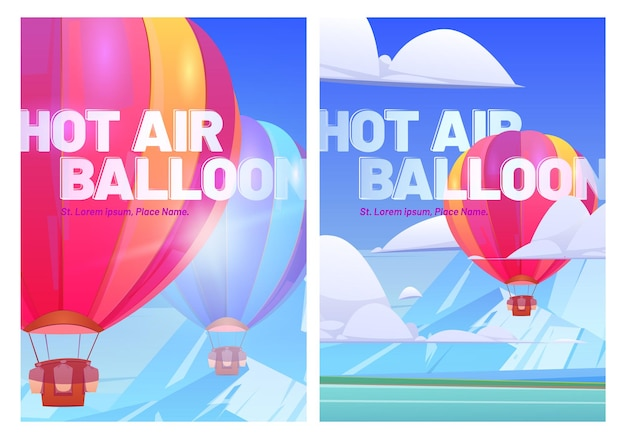 Balony na ogrzane powietrze latają nad górską doliną z jeziorem, plakaty z podróży.