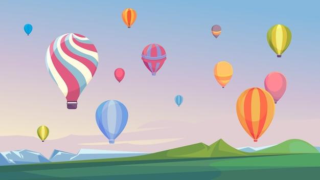 Balony na ogrzane powietrze latające na niebie