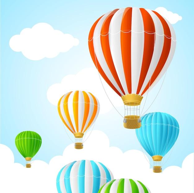 Balony na ogrzane powietrze na niebie, stylu cartoon
