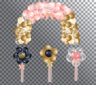 Balony na przezroczystym tle