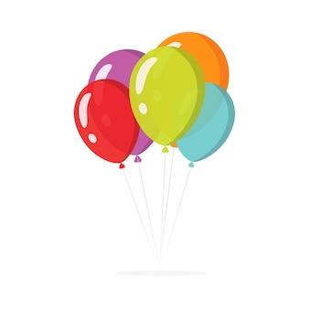 Balony na przyjęcie urodzinowe latające kolorowe płaskie ilustracja kreskówka na białym tle clipart