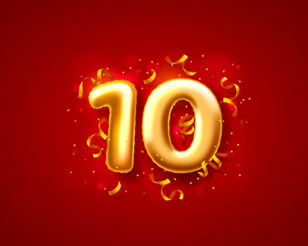 Balony na uroczystości świąteczne, balony z 10. numerami.
