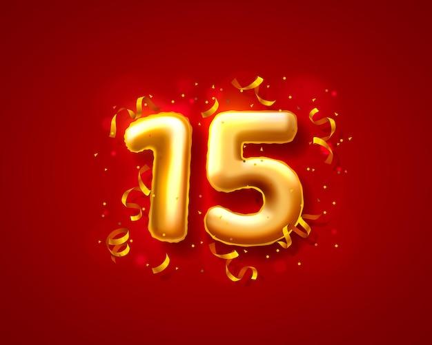 Balony na uroczystości świąteczne, balony z 15. numerami.