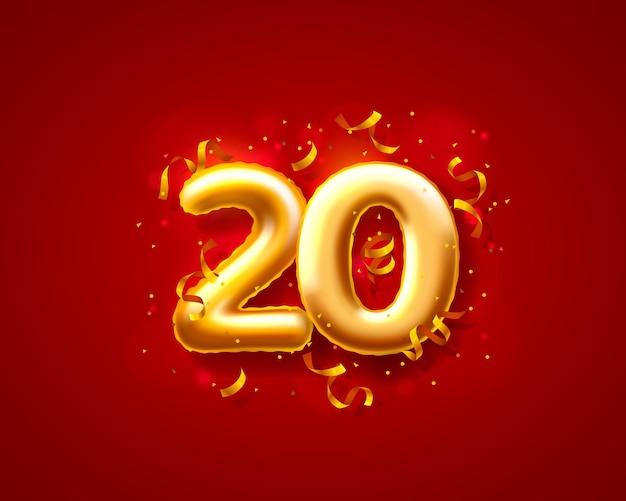 Balony na uroczystości świąteczne, balony z 20. numerami.