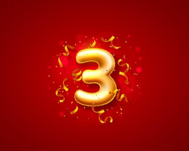 Balony na uroczystości świąteczne, balony z 3 numerami.