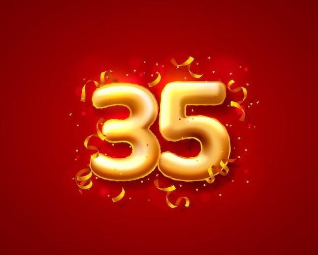 Balony na uroczystości świąteczne, balony z 35 numerami.