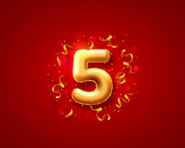Balony na uroczystości świąteczne, balony z 5 numerami.