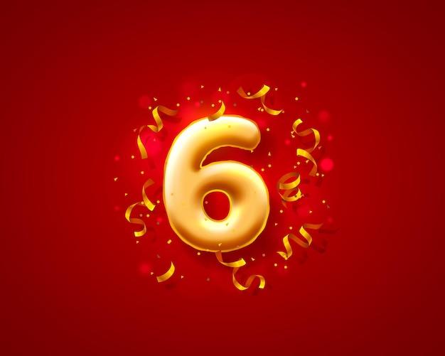 Balony na uroczystości świąteczne, balony z 6 numerami.