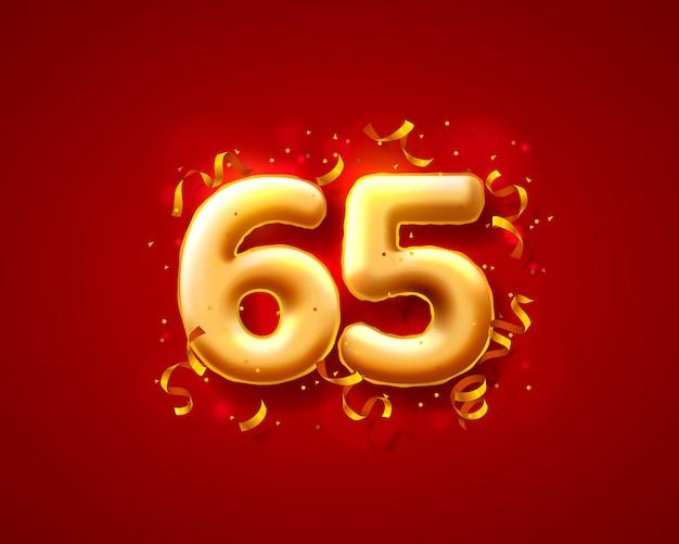 Balony na uroczystości świąteczne, balony z 65 numerami.