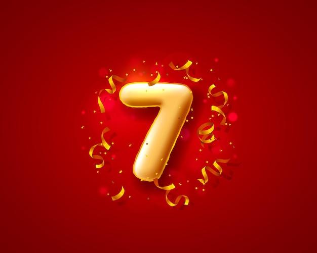 Balony na uroczystości świąteczne, balony z 7 numerami.