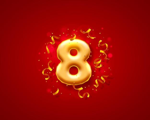 Balony na uroczystości świąteczne, balony z 8 numerami.