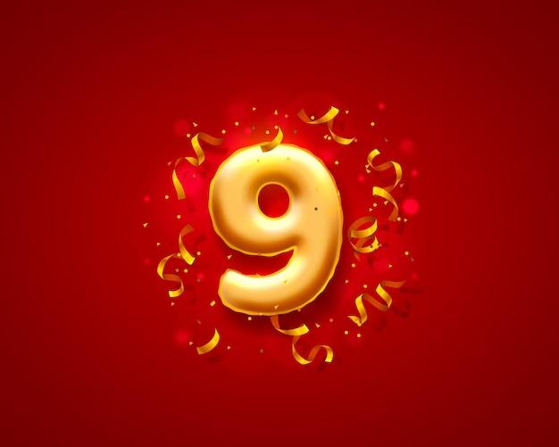 Balony na uroczystości świąteczne, balony z 9 numerami.