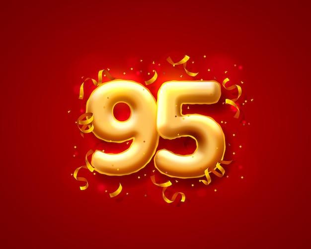 Balony na uroczystości świąteczne, balony z 95 numerami.