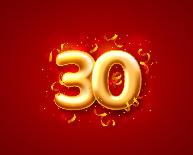 Balony na uroczystości świąteczne, balony z numerami 30.