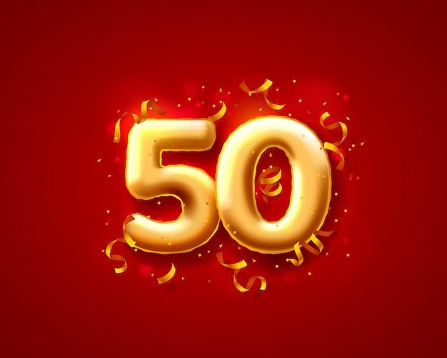 Balony na uroczystości świąteczne, balony z numerami 50.