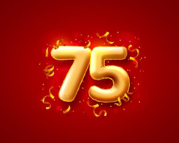 Balony na uroczystości świąteczne, balony z numerami 75.
