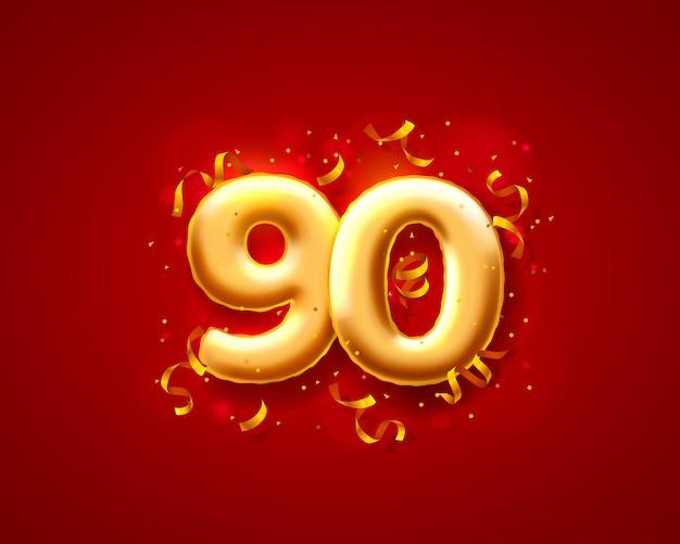Balony na uroczystości świąteczne, balony z numerami 90.