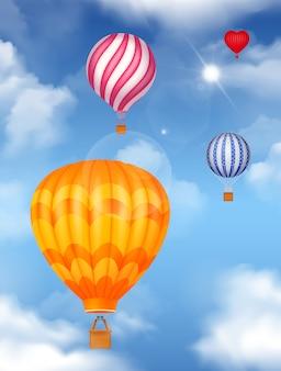 Balony powietrzne na niebie realistyczne w jasnych kolorach