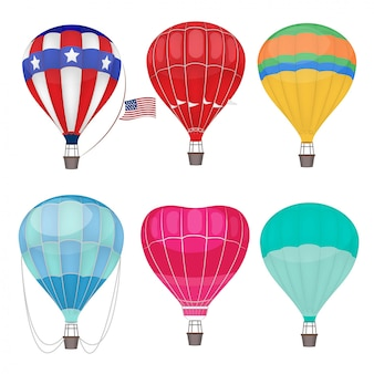 Balony powietrzne. przewietrzanie transportu na niebie balonów na ogrzane powietrze