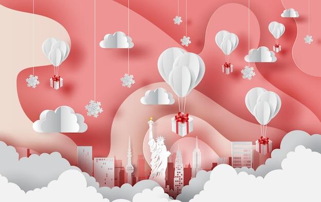 Balony prezent pływający krajobraz miasta nowy jork.