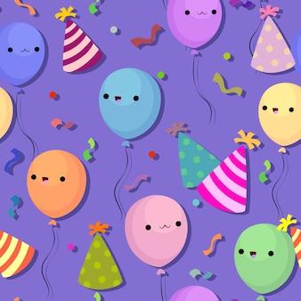Balony urodziny i czapki wzór