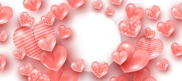 Balony w kształcie różowego serca na tle białej okrągłej ramki. koncepcja walentynki. copyspace, minimalny styl banner