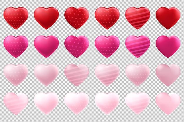 Balony w kształcie serca ustawione na przezroczystym tle