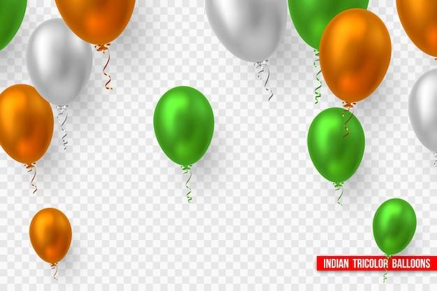 Balony wektor w tradycyjnym tricolor flagi indii. realistyczne elementy dekoracyjne na święta narodowe indii. na przezroczystym tle.
