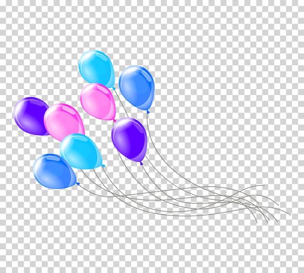 Balony z helem. pęczek lub grupa kolorowych balonów helowych na przezroczystym tle. realistyczny zestaw balonów na imprezę.