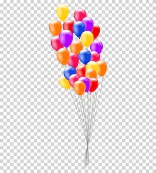 Balony z helem. pęczek lub grupa kolorowych balonów helowych na przezroczystym tle.