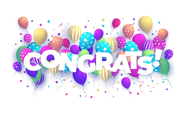 Balony z konfetti i tekstem gratulacje