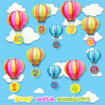 Balony z numerami na niebie