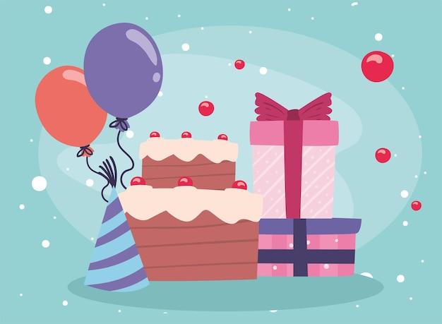 Balony z okazji urodzin kapelusz ciasto i prezenty