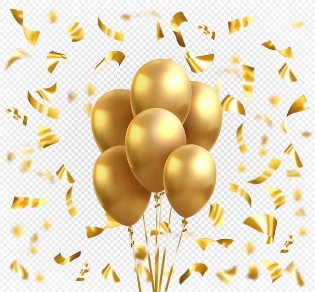 Balony z żółtego złota i konfetti złote gwiazdki. wektor błyszczący realistyczny złoty błyszczący balon na wakacje uroczystości z życzeniami