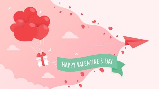 Balony zawiązują unoszące się na niebie pudełka z prezentami, którymi w walentynki posypane są czerwone serca miłości.