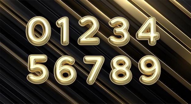 Balony złotej liczby od 0 do 9. balony foliowe i lateksowe. balony helowe. impreza, urodziny, rocznica i ślub. realistyczne elementy projektu.