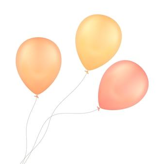 Balony żółty czerwony na białym tle