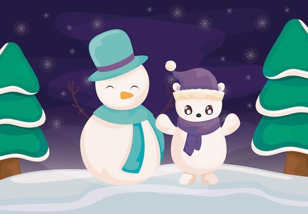 Bałwan i niedźwiedź polarny z kapeluszem i szalikiem na zima krajobrazie