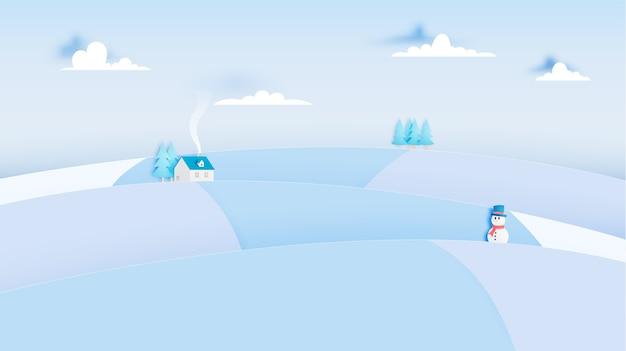Bałwan i zima krajobraz z papierowym sztuka stylem i pastelowego koloru planu wektoru illustrat