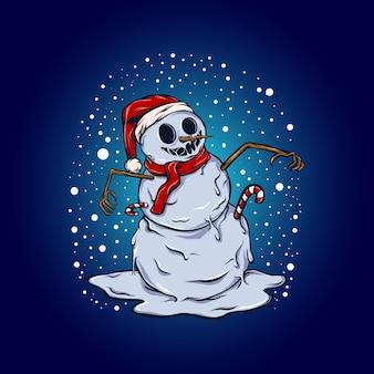 Bałwan świętuje świąteczną ilustrację