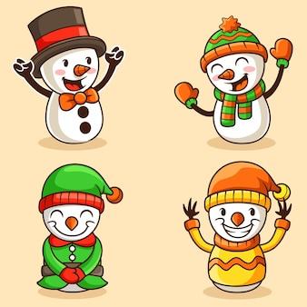 Bałwan ustawić maskotka christmast, zabawna maskotka ilustracji wektorowych
