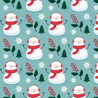 Bałwan zabawny wzór świąteczny