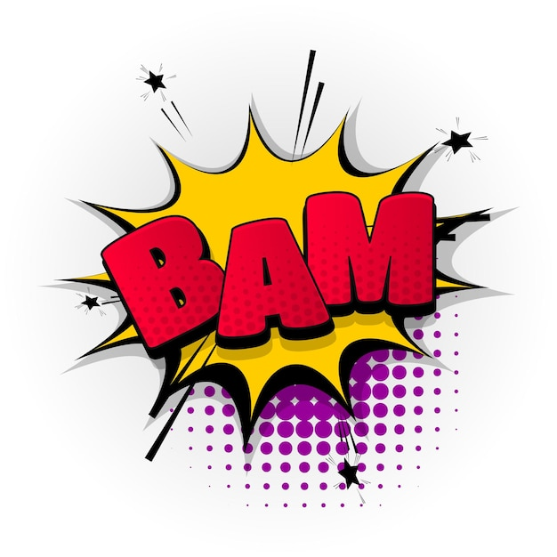 Bam boom bang dźwięk komiks efekty tekstowe szablon komiks dymek półtony styl pop-artu