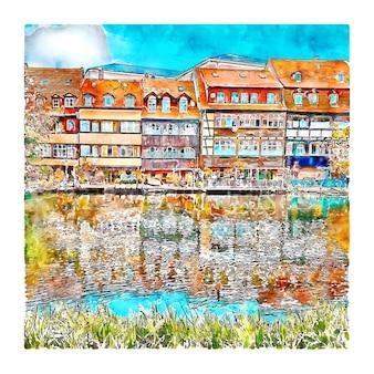 Bamberg niemcy szkic akwarela ręcznie rysowane ilustracji