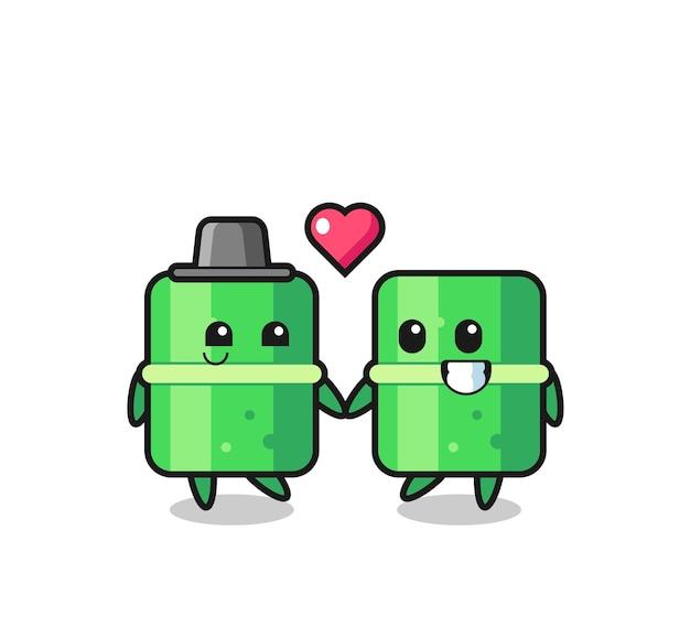 Bambusowa para postaci z kreskówek z gestem zakochania, ładny styl na koszulkę, naklejkę, element logo