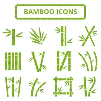 Bambusowe łodygi i liście wektorowe ikony.