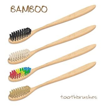 Bambusowe szczoteczki do zębów wektor zestaw