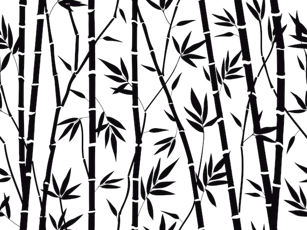 Bambusowy las sylwetka na białym tle