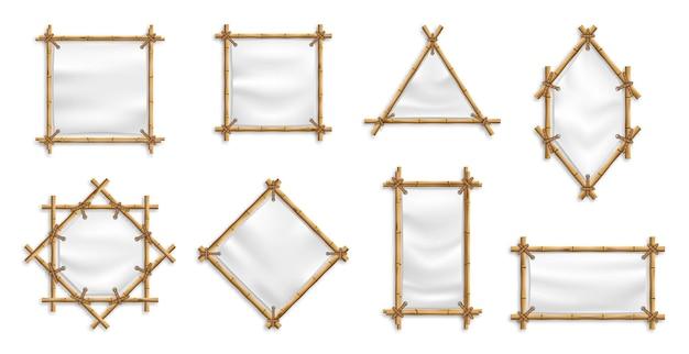 Bambusowy zestaw ramek banerowych. bambus z płótnem. chińskie znaki z pustymi banerami tekstylnymi.