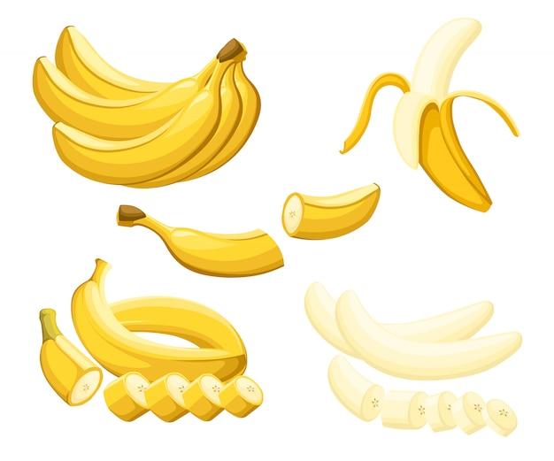Banan i plasterki bananów. ilustracja bananów. ilustracja na ozdobny plakat, emblemat produkt naturalny, rynek rolników. strona internetowa i aplikacja mobilna